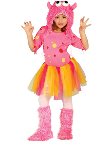 Kostuum roze monster voor meisjes